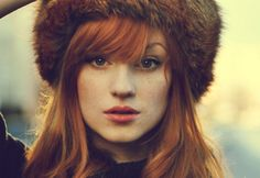 hats, hair colors, furs, ginger, red hair, beauti, beauty, redheads, bang
