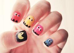 pac man nail art style, nailart, pac man, makeup, beauti, pacman nail, nails, hair, nail art