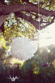 idea, tree decorations, origami paper, catering, paper birds, flowers, outdoor weddings, paper decorations, full bloom