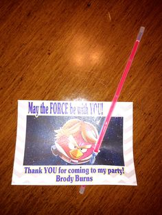 Angry Bird Star Wars 5th Birthday Party Favors. Neon bracelets are 5 for a $1 at Dollar Tree. Made cards on Print Shop!  Very easy!