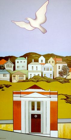 'Old Wellington Synagogue' oil on canvas by Don Binney, NZ. (1976)