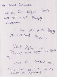 Kid's letter to Dumbledore