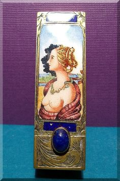 antique ITALIAN FIRENZE Silver Enamel HP Lipstick case NUDE LADY PORTRAIT w/box