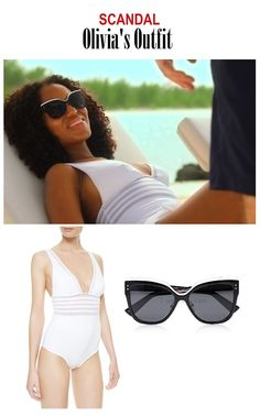"On the blog: Olivia Pope's (Kerry Washington) one piece white swimsuit and cat eye sunglasses | Scandal 401 - ""Randy, Red, Superfreak and Julia"" #SeasonPremiere #Gladiators #OliviaPopeStyle #Fashion"
