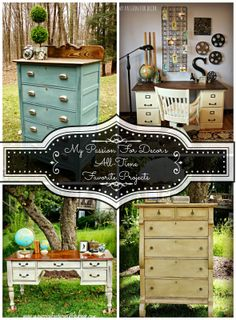 My Passion For Decor. Features many furniture pieces painted w/ ASCP. Some have wood stained tops.