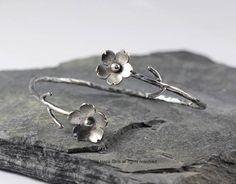 Cherry blossom branch cuff sterling silver custom by HapaGirls