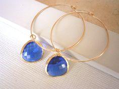 Cobalt Blue Earrings, Gold Hoop Earrings, Simple, Classic, Everyday Jewelry