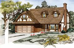 Home Plans HOMEPW23824 - 2,018 Square Feet, 4 Bedroom 2 Bathroom Tudor Home with 2 Garage Bays