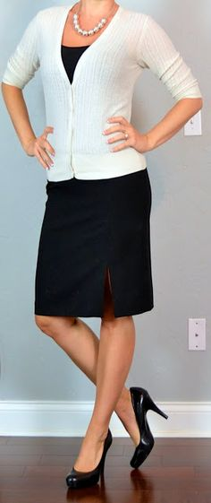 Outfit Posts: outfit post: cream cardigan, black camisole, black pencil skirt