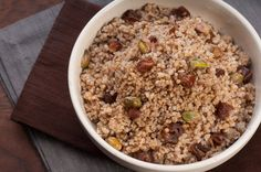 Kasha Pilaf with Baharat, Dates and Pistachios - made with quinoa.