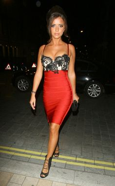 Lace red bandage dress