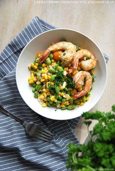 Garlicky shrimp corn, feta, & edamame salad