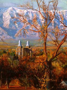 Cache Valley Autumn LDS Temple Painting