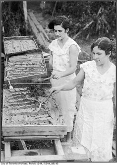 Two women making tomato paste in their backyard, Toronto, c. 1936. #vintage #Canada #1930s