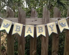 Yellow and Grey Baby Shower - Elephant Baby Shower Banner - Grey and Yellow Baby Shower Banner - Baby Shower Ideas