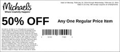 Michaels: 50% off Item Printable Coupon