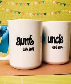 New AUNT or UNCLE Mugs, Est. Year, Cute Pregnancy Announcement on Etsy, $12.95