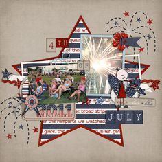 #papercraft #scrapbook #layout. 4th of July digital layout by KSCroppyChick  American Pride by SuzyQ Scraps and Amanda Heimann