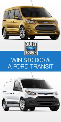 Enter the FORD TRANSIT SWEEPSTAKES :: Ford wants to ensure you are ready for anything with their latest contest! Enter for the chance to win $10,000 and a 2014 Ford Transit Connect!  (Ends May 20, 2014.)