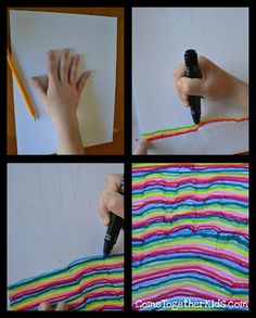 Trace your hand and a bit of your wrist in pencil.  2.  Using marker, draw a straight line across until you reach the pencil outline of your hand.  Make a curve from one line to the next, then continue in a straight line.  3.  Continue making lines until the whole paper is covered, always making the lines curve within the outline of the hand.  4.  If necessary, when you're finished, touch up and fill in any white spots that you missed.