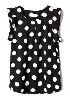 Black Short Sleeve Polka Dot Chiffon Blouse