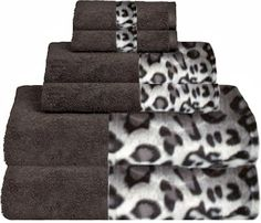 Snow Leopard & Java Bordering Africa Bath Towels  $11.00-$27.00 SALE $10.00-$24.00 towel 11002700, bath towel, africa bath, snow leopard, leopard bathroom