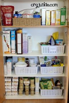 organizing - small labeled baskets hold little pantry stuff