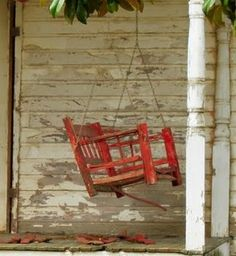 Old Weathered Red Porch Swing...