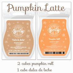 #FragranceFriday features the recipe for a fall classic! Just pop a cube of #DulcedeLeche and two cubes of #PumpkinRoll into your #Scentsy Warmer for an irresistible #PumpkinLatte! Yum ;)  www.ilovewickless.com #ILoveWickless