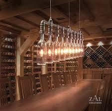 wine bottle lighting - Google Search  this would be fun for a wine bar/coffee bar area. Could put a wine cellar in the basement. I'd like to grow grapes & micro batch wine too. Old wine barrels are easy to buy to use for decorating purposes - can be made into chairs and side tables.