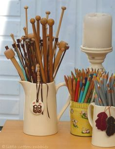 display crochet hooks (these are knitting needles)