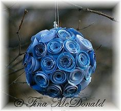 Rolled paper flowers ornament-I'd add some glitter
