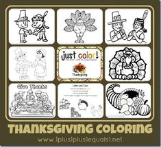Thanksgiving coloring printables & activities from 1+1+1=1