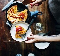 Baked pancake with nectarines