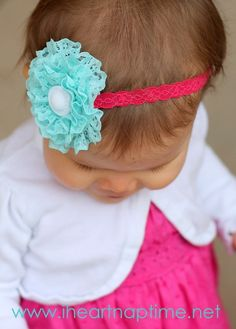 ruffled lace flower tutorial!  I got these bows for the girls at a craft fair and I get the MOST compliments on how cute these are than any other bow that they have!  So glad I found a tutorial so I can just make them myself!
