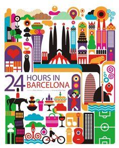 24 hours in Barcelona, Spain.  Illustration by Fernando Volken Togni