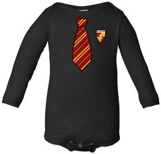 Hogwarts Gryffindor Harry Potter Inspired Long Sleeve Black Infant Onesie.      This is about the only reason I want children; to dress them up in this awesomeness