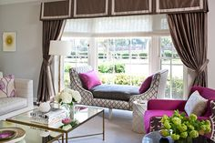 Fuschia + Gray is a fabulous combination as seen in this room by Massucco Warner Miller