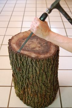 tree stump end table how to