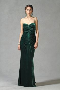 with red hair, perhaps. Tadashi Shoji's washed silk velvet dress.