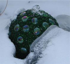 a bowling ball bubble fountain