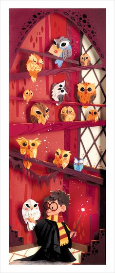 super cute print.... Introduction to the Owlry by Brittney Lee. harri potter, cut paper art, papers, harry potter room, harry potter nursery, brittney lee, print, owls, harry potter theme