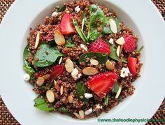 Red Quinoa Salad with Spinach, Strawberries and Goat Cheese goats, strawberries, healthi, spinach, recip, quinoa salad, salads, foodi physician, goat cheese
