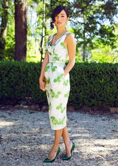 ladylike. green shoes, fashion, style, gari pepper, heel, outfit, the dress, green dress, floral dresses