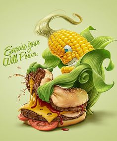 """Exercise Your Will Power"" - Oscar Ramos {contemporary artist animator artist corn cob cheeseburger fast food fight illustration} #diet"