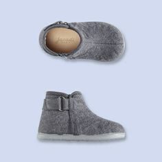 Grey flannel bootie slipper from jacadi, 30% off. Adore these.