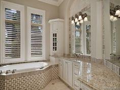 Traditional master bathroom - basket weave tile - granite - Olde Naples, FL