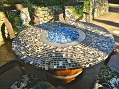Wine Barrel Fire Pit Patio Table by JarsOfWine on Etsy, $1998.00