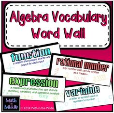 Vibrant and colorful word wall featuring 24 common Algebra I vocabulary words, their definitions, and examples. $1.50