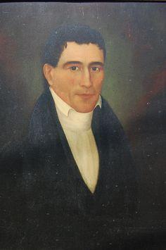 Antiques & Fine Art - Manko American Folk Art - Portrait Painting of Gentleman
